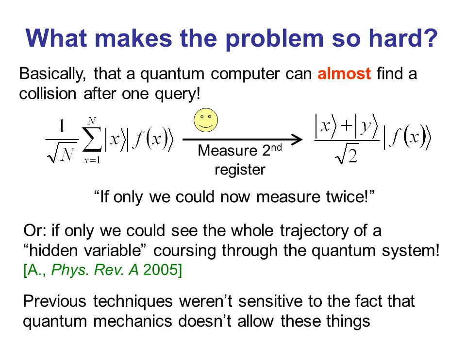 What makes the problem so hard? Basically, that a quantum computer can almost find a collision after one query! Measure 2 nd register Or: if only we c
