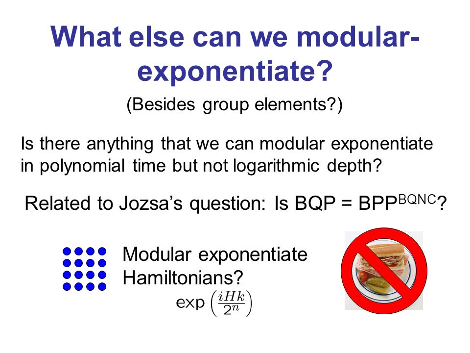 What else can we modular- exponentiate.