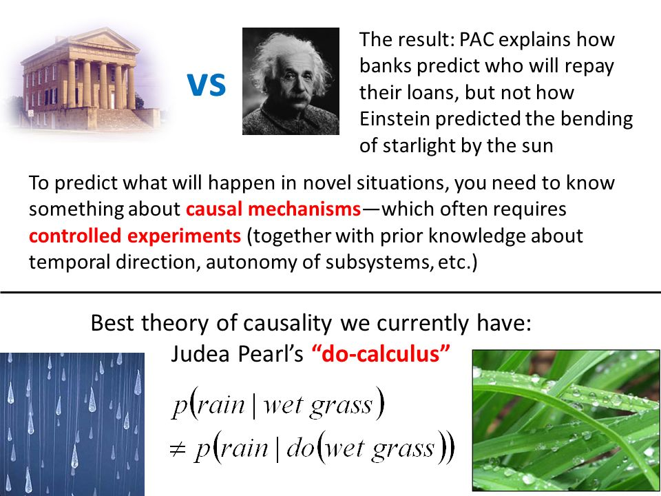 My WACI Challenge for Theory Traditional statistics : PAC-learning :: Pearls do-calculus : what.