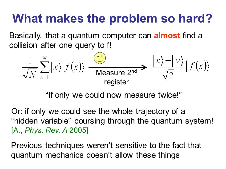 What makes the problem so hard? Basically, that a quantum computer can almost find a collision after one query to f! Measure 2 nd register Or: if only