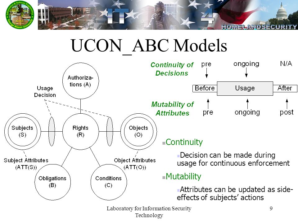 Laboratory for Information Security Technology 9 UCON_ABC Models Continuity Decision can be made during usage for continuous enforcement Mutability Attributes can be updated as side- effects of subjects actions