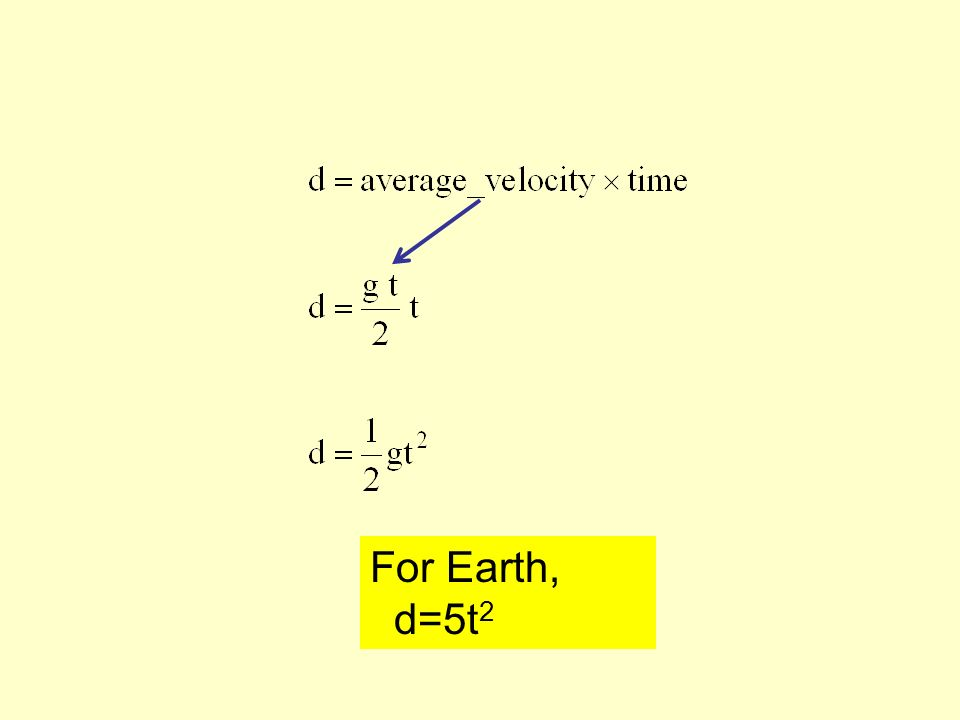 For Earth, d=5t 2