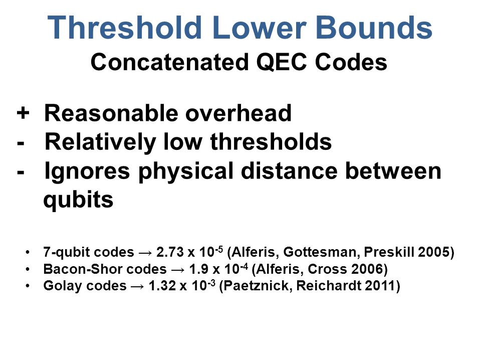 Threshold Lower Bounds Concatenated QEC Codes + Reasonable overhead - Relatively low thresholds - Ignores physical distance between qubits 7-qubit cod