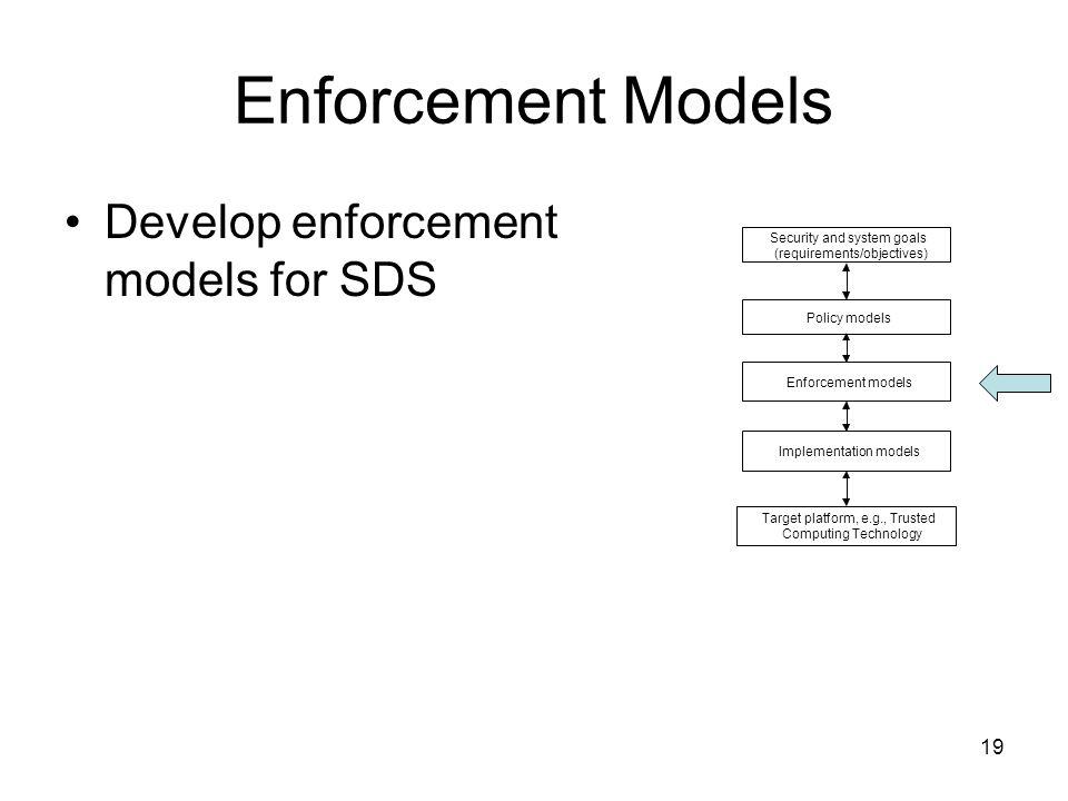 19 Enforcement Models Develop enforcement models for SDS Security and system goals (requirements/objectives) Target platform, e.g., Trusted Computing Technology Enforcement models Policy models Implementation models