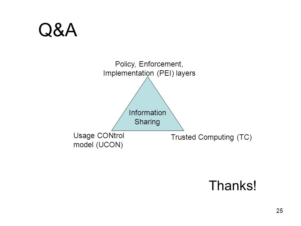 25 Q&A Thanks! Information Sharing Policy, Enforcement, Implementation (PEI) layers Trusted Computing (TC) Usage CONtrol model (UCON)