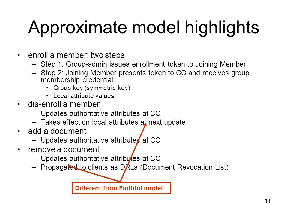31 Approximate model highlights enroll a member: two steps –Step 1: Group-admin issues enrollment token to Joining Member –Step 2: Joining Member presents token to CC and receives group membership credential Group key (symmetric key) Local attribute values dis-enroll a member –Updates authoritative attributes at CC –Takes effect on local attributes at next update add a document –Updates authoritative attributes at CC remove a document –Updates authoritative attributes at CC –Propagated to clients as DRLs (Document Revocation List) Different from Faithful model