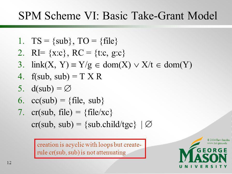 © 2004 Ravi Sandhu www.list.gmu.edu 12 SPM Scheme VI: Basic Take-Grant Model 1.TS = {sub}, TO = {file} 2.RI= {x:c}, RC = {t:c, g:c} 3.link(X, Y) Y/g d
