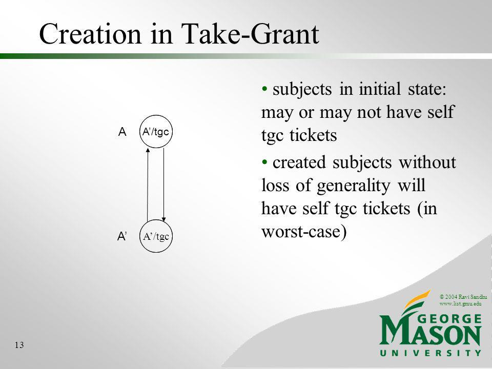 © 2004 Ravi Sandhu www.list.gmu.edu 13 Creation in Take-Grant subjects in initial state: may or may not have self tgc tickets created subjects without