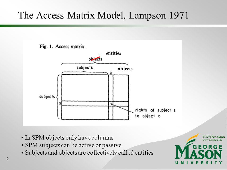 © 2004 Ravi Sandhu www.list.gmu.edu 2 The Access Matrix Model, Lampson 1971 In SPM objects only have columns SPM subjects can be active or passive Subjects and objects are collectively called entities entities objects