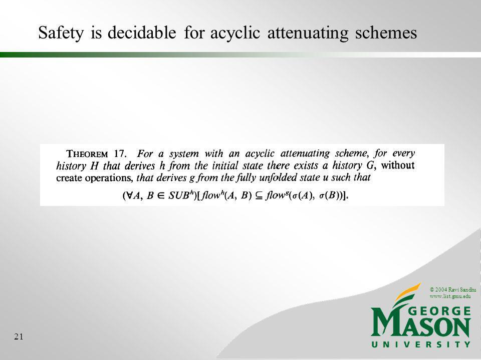 © 2004 Ravi Sandhu www.list.gmu.edu 21 Safety is decidable for acyclic attenuating schemes