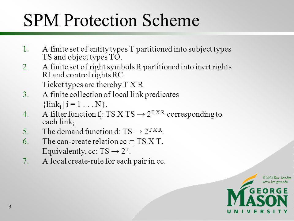 © 2004 Ravi Sandhu www.list.gmu.edu 3 SPM Protection Scheme 1.A finite set of entity types T partitioned into subject types TS and object types TO. 2.