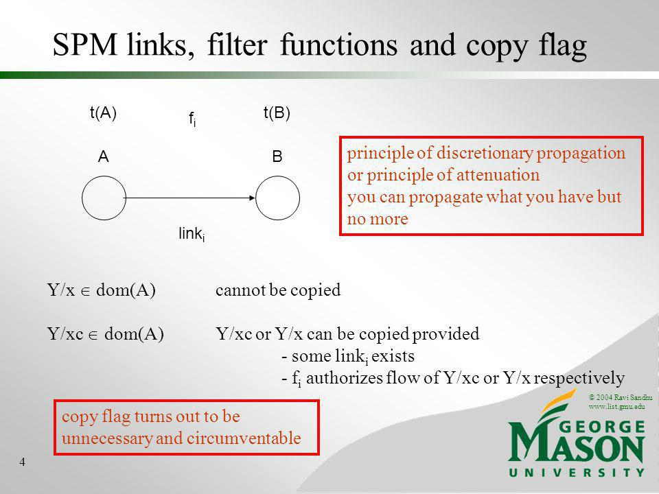 © 2004 Ravi Sandhu www.list.gmu.edu 4 SPM links, filter functions and copy flag AB link i t(A)t(B) fifi Y/x dom(A) cannot be copied Y/xc dom(A) Y/xc or Y/x can be copied provided - some link i exists - f i authorizes flow of Y/xc or Y/x respectively principle of discretionary propagation or principle of attenuation you can propagate what you have but no more copy flag turns out to be unnecessary and circumventable