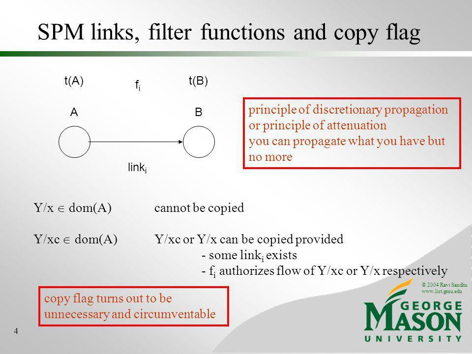 © 2004 Ravi Sandhu www.list.gmu.edu 4 SPM links, filter functions and copy flag AB link i t(A)t(B) fifi Y/x dom(A) cannot be copied Y/xc dom(A) Y/xc o