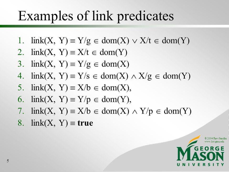 © 2004 Ravi Sandhu www.list.gmu.edu 5 Examples of link predicates 1.link(X, Y) Y/g dom(X) X/t dom(Y) 2.link(X, Y) X/t dom(Y) 3.link(X, Y) Y/g dom(X) 4.link(X, Y) Y/s dom(X) X/g dom(Y) 5.link(X, Y) X/b dom(X), 6.link(X, Y) Y/p dom(Y), 7.link(X, Y) X/b dom(X) Y/p dom(Y) 8.link(X, Y) true