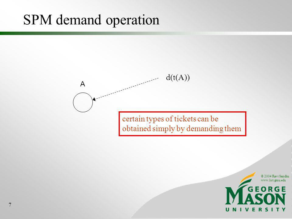 © 2004 Ravi Sandhu www.list.gmu.edu 7 SPM demand operation A d(t(A)) certain types of tickets can be obtained simply by demanding them