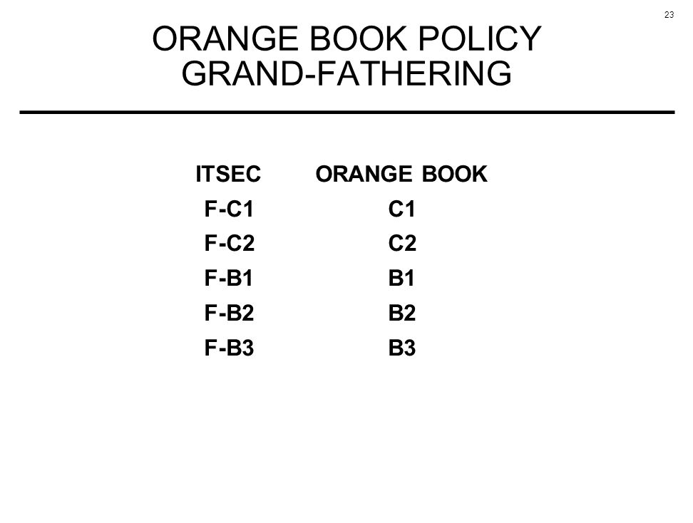23 ORANGE BOOK POLICY GRAND-FATHERING ITSECORANGE BOOK F-C1C1 F-C2C2 F-B1B1 F-B2B2 F-B3B3