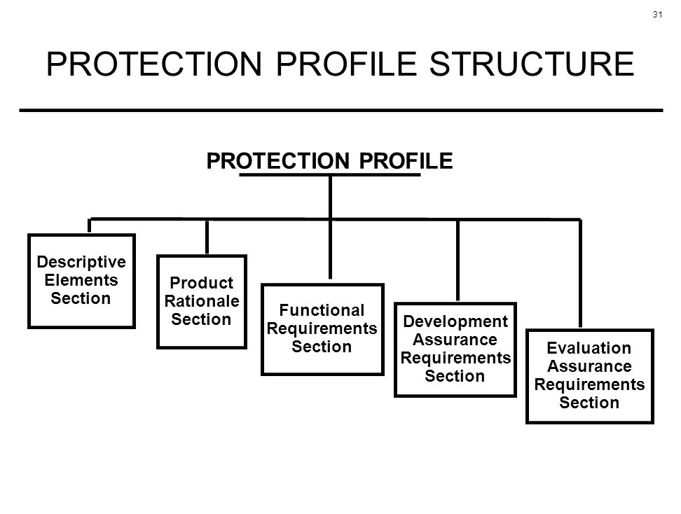 31 PROTECTION PROFILE STRUCTURE Descriptive Elements Section Product Rationale Section Development Assurance Requirements Section Functional Requirements Section Evaluation Assurance Requirements Section PROTECTION PROFILE