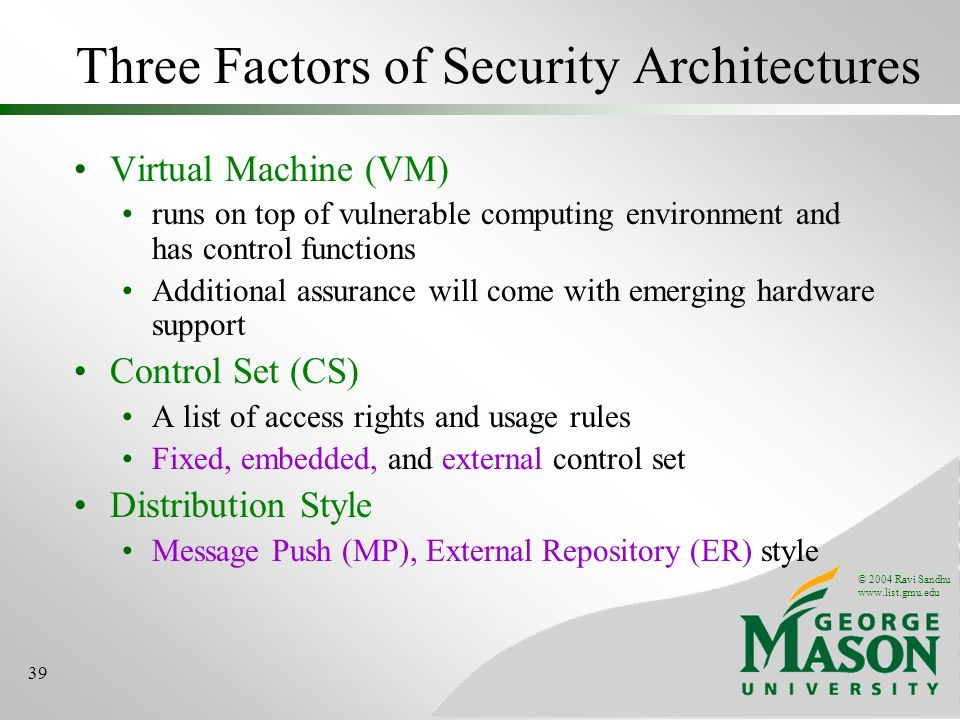 © 2004 Ravi Sandhu www.list.gmu.edu 39 Three Factors of Security Architectures Virtual Machine (VM) runs on top of vulnerable computing environment an
