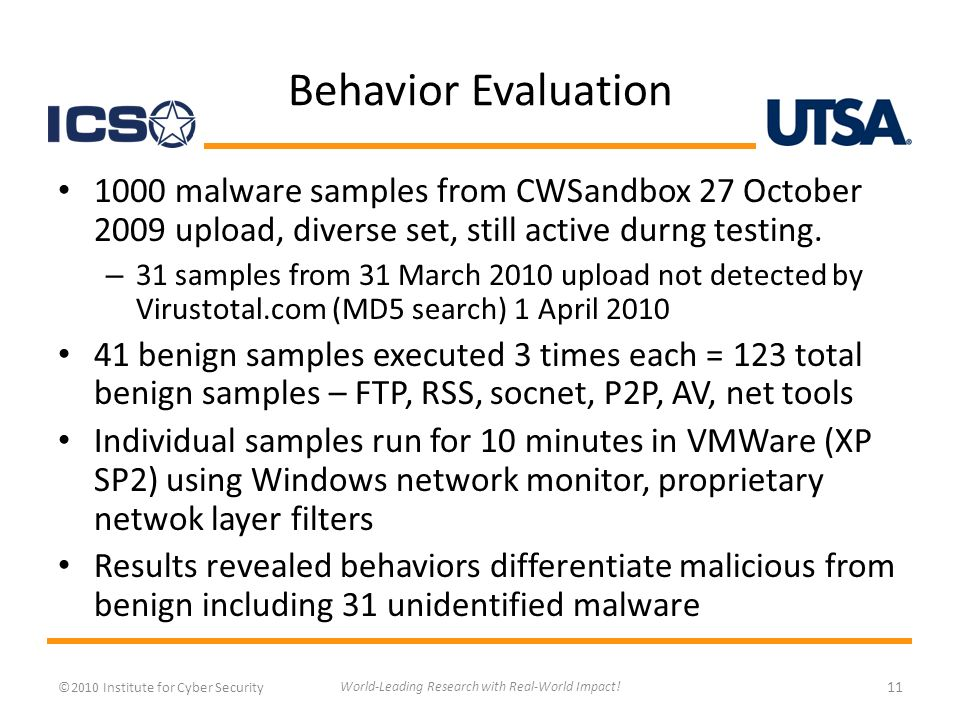 Behavior Evaluation 1000 malware samples from CWSandbox 27 October 2009 upload, diverse set, still active durng testing.