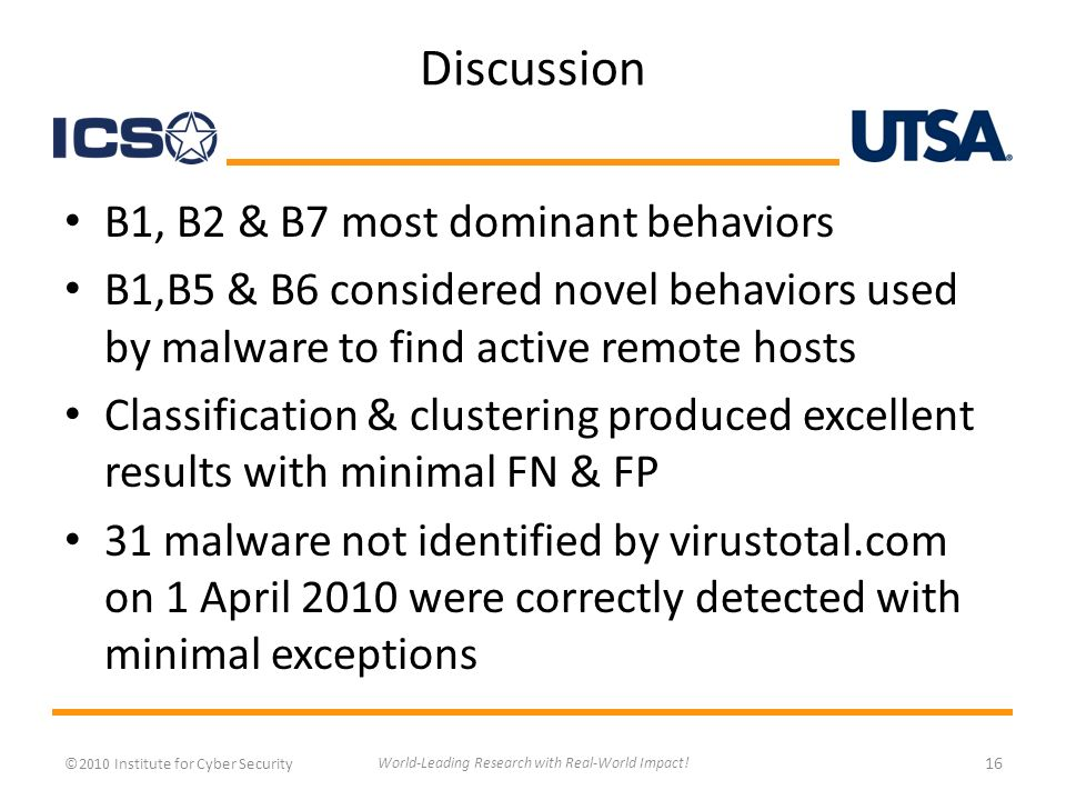 Discussion B1, B2 & B7 most dominant behaviors B1,B5 & B6 considered novel behaviors used by malware to find active remote hosts Classification & clustering produced excellent results with minimal FN & FP 31 malware not identified by virustotal.com on 1 April 2010 were correctly detected with minimal exceptions ©2010 Institute for Cyber Security 16 World-Leading Research with Real-World Impact!