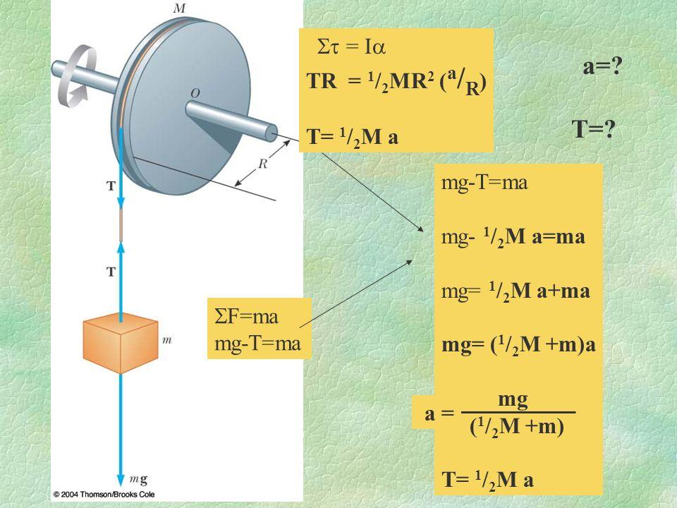 a=? T=? F=ma mg-T=ma = I TR = 1 / 2 MR 2 ( a / R ) T= 1 / 2 M a mg-T=ma mg- 1 / 2 M a=ma mg= 1 / 2 M a+ma mg= ( 1 / 2 M +m)a mg ( 1 / 2 M +m) T= 1 / 2