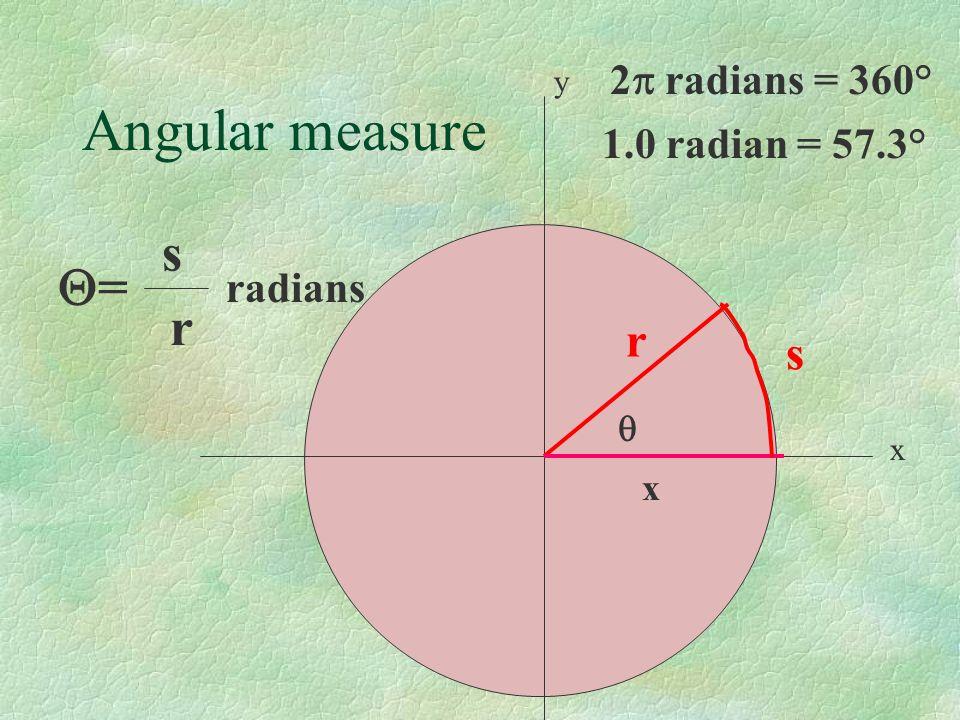 Angular measure y x r x = 2 radians = 360° s s r radians 1.0 radian = 57.3°