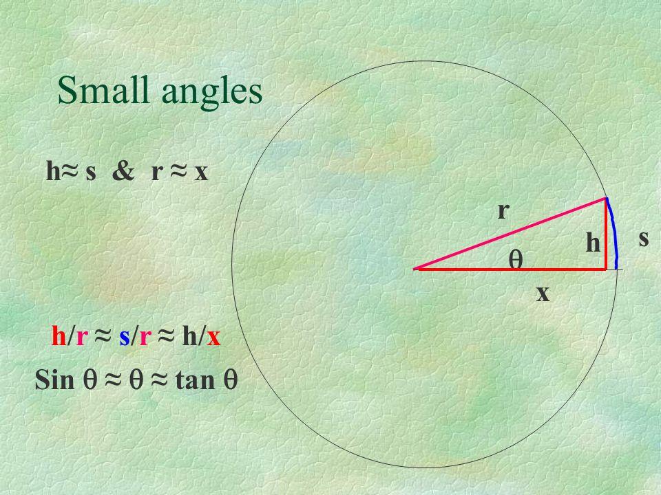 Small angles r h s h s & r x Sin tan h/r s/r h/x x
