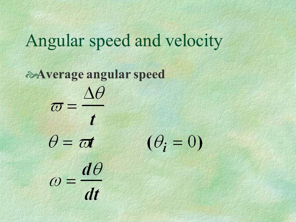 Angular speed and velocity Average angular speed