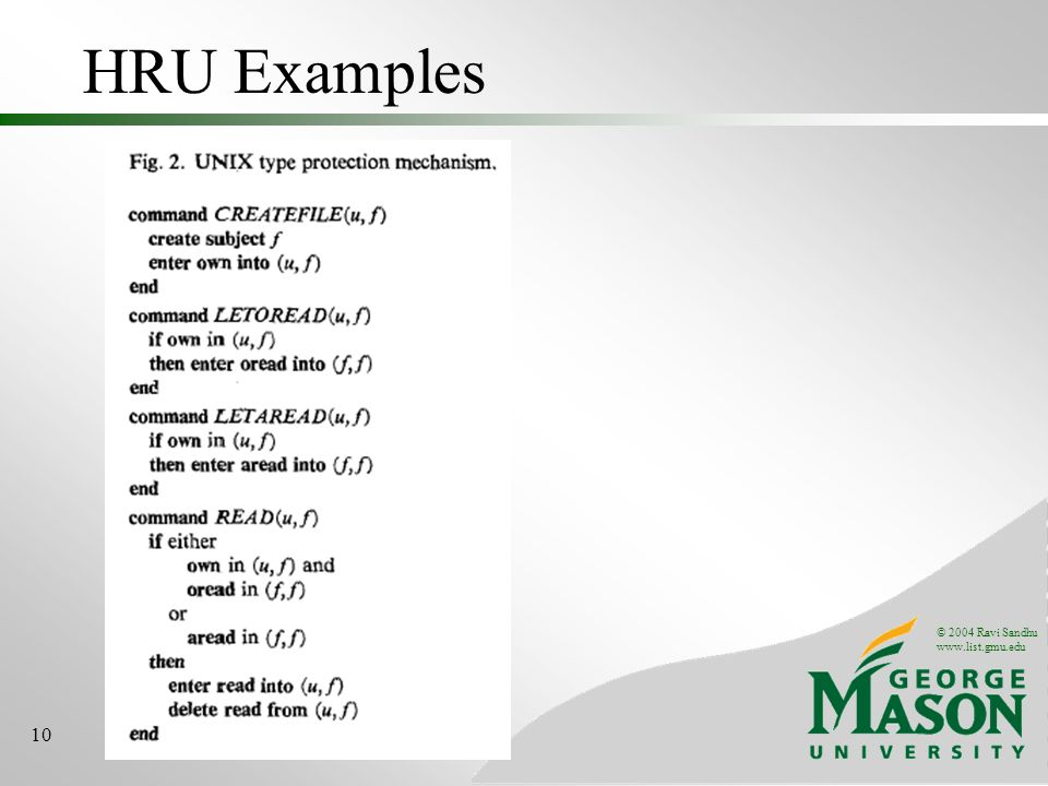 © 2004 Ravi Sandhu www.list.gmu.edu 10 HRU Examples