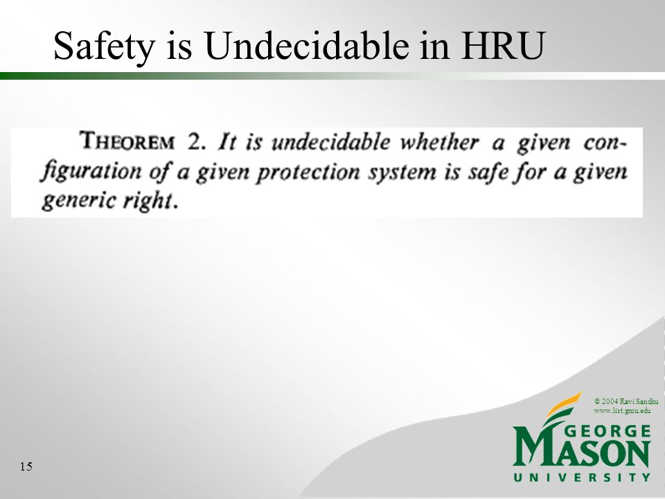 © 2004 Ravi Sandhu www.list.gmu.edu 15 Safety is Undecidable in HRU