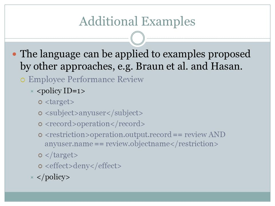 Additional Examples The language can be applied to examples proposed by other approaches, e.g.