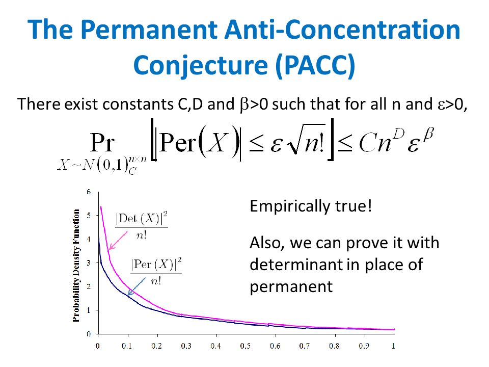 There exist constants C,D and >0 such that for all n and >0, The Permanent Anti-Concentration Conjecture (PACC) Empirically true! Also, we can prove i