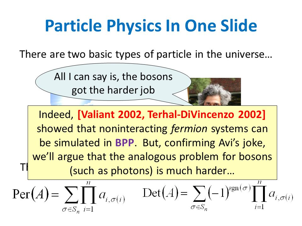 BOSONSFERMIONS There are two basic types of particle in the universe… Their transition amplitudes are given respectively by… All I can say is, the bos