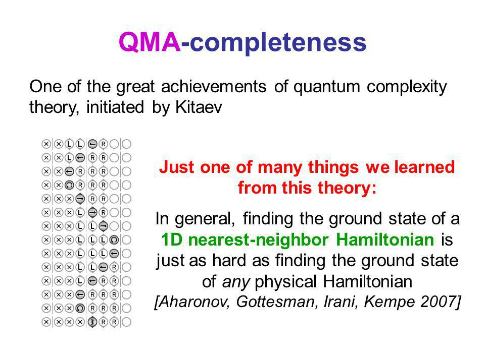 QMA-completeness Just one of many things we learned from this theory: In general, finding the ground state of a 1D nearest-neighbor Hamiltonian is jus