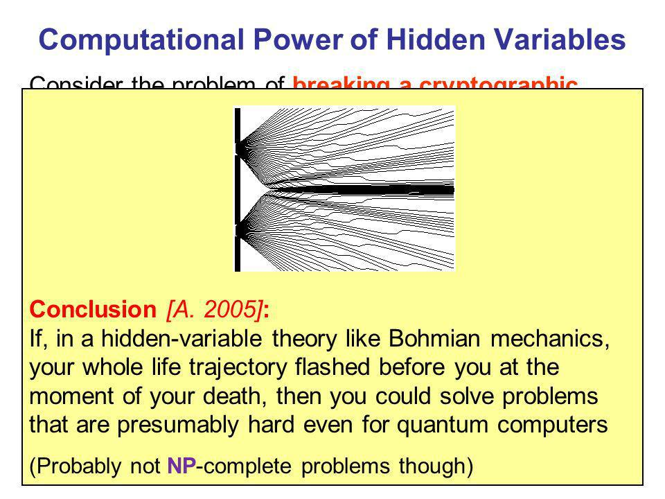 Computational Power of Hidden Variables Measure 2 nd register Consider the problem of breaking a cryptographic hash function: given a black box that c