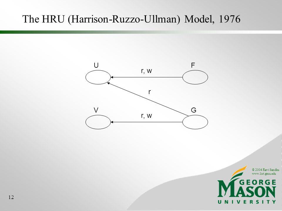 © 2004 Ravi Sandhu www.list.gmu.edu 12 The HRU (Harrison-Ruzzo-Ullman) Model, 1976 UF r, w VG r