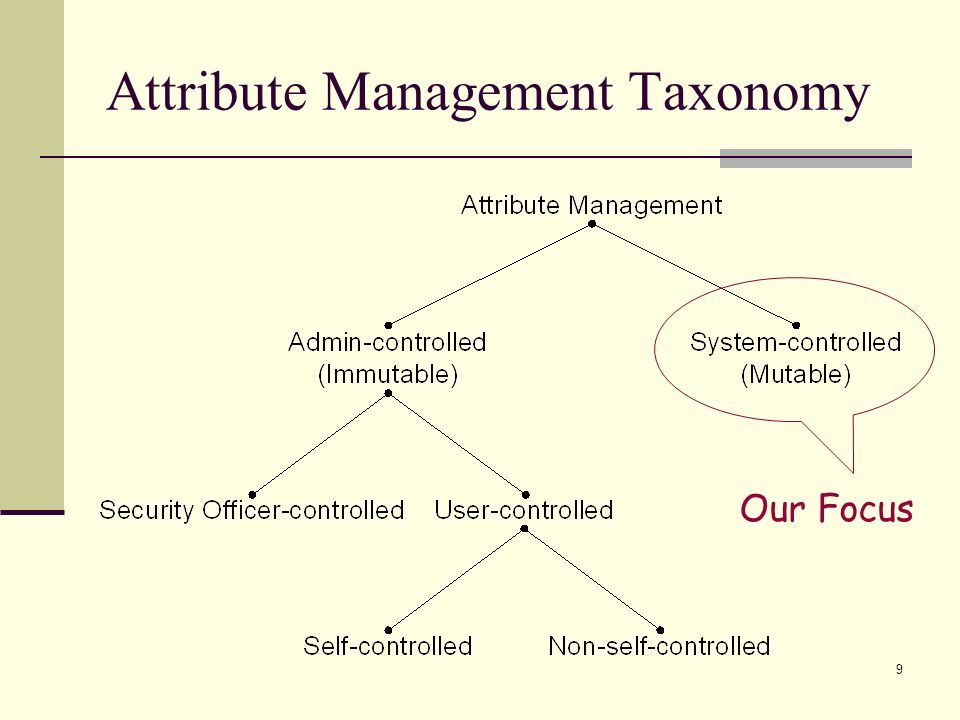 9 Attribute Management Taxonomy Our Focus