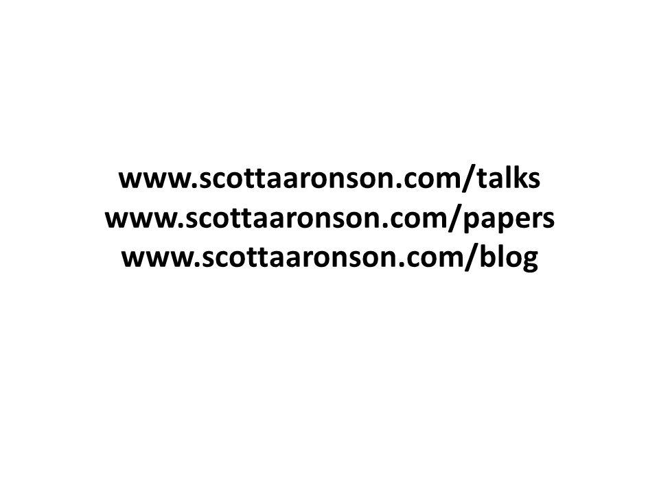 www.scottaaronson.com/talks www.scottaaronson.com/papers www.scottaaronson.com/blog