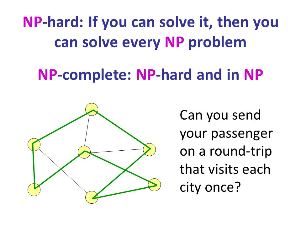NP-hard: If you can solve it, then you can solve every NP problem NP-complete: NP-hard and in NP Can you send your passenger on a round-trip that visits each city once
