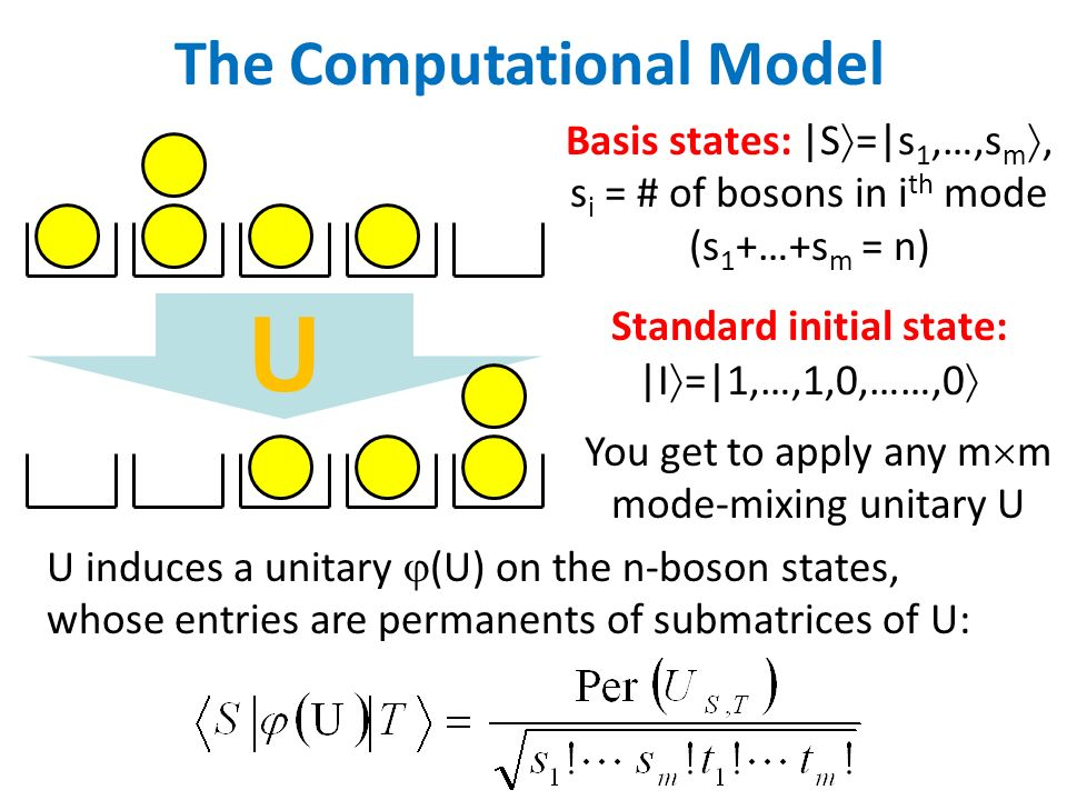 U The Computational Model Basis states: |S =|s 1,…,s m, s i = # of bosons in i th mode (s 1 +…+s m = n) Standard initial state: |I =|1,…,1,0,……,0 You