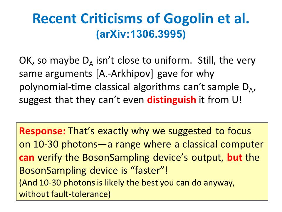 Recent Criticisms of Gogolin et al. ( arXiv:1306.3995 ) OK, so maybe D A isnt close to uniform.