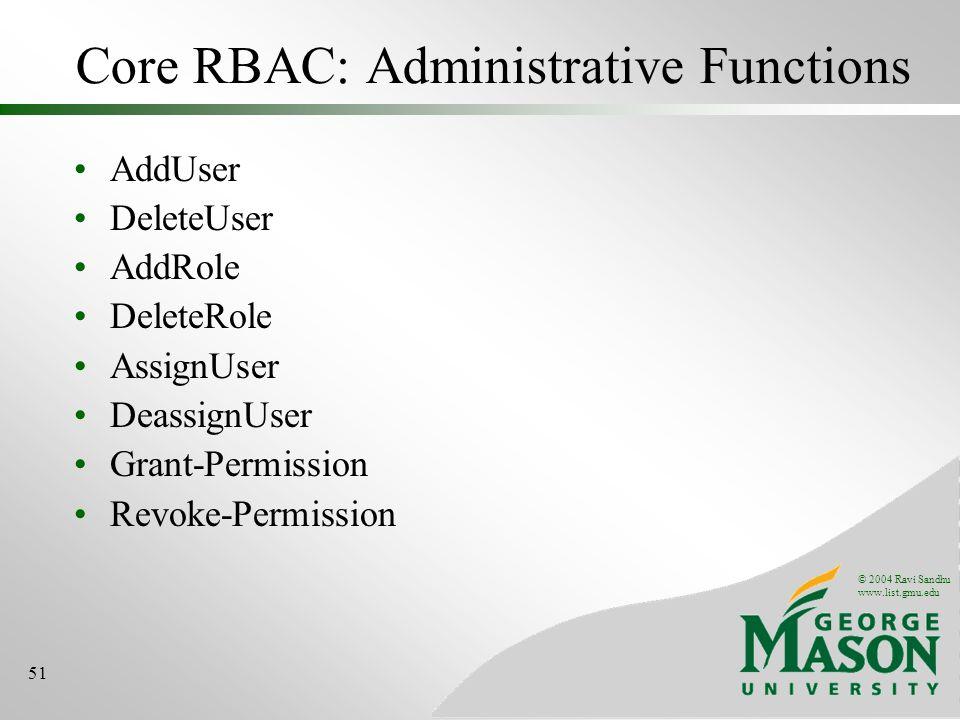 © 2004 Ravi Sandhu www.list.gmu.edu 51 Core RBAC: Administrative Functions AddUser DeleteUser AddRole DeleteRole AssignUser DeassignUser Grant-Permission Revoke-Permission