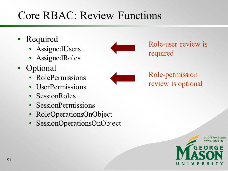 © 2004 Ravi Sandhu www.list.gmu.edu 53 Core RBAC: Review Functions Required AssignedUsers AssignedRoles Optional RolePermissions UserPermissions SessionRoles SessionPermissions RoleOperationsOnObject SessionOperationsOnObject Role-permission review is optional Role-user review is required