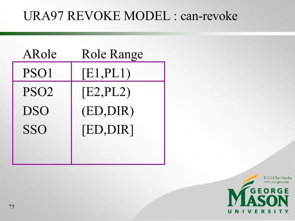 © 2004 Ravi Sandhu www.list.gmu.edu 75 URA97 REVOKE MODEL : can-revoke ARoleRole Range PSO1[E1,PL1) PSO2[E2,PL2) DSO(ED,DIR) SSO[ED,DIR]