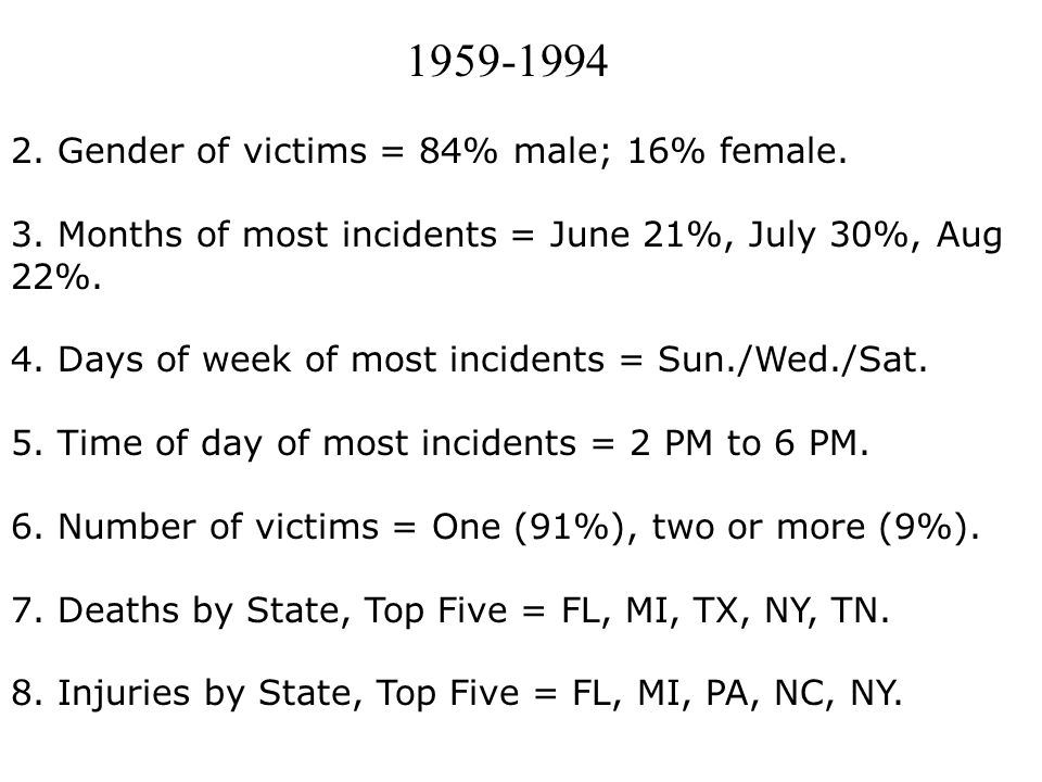 1959-1994 2. Gender of victims = 84% male; 16% female.