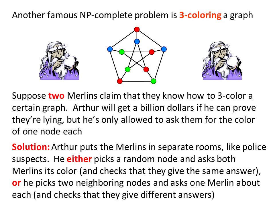 Another famous NP-complete problem is 3-coloring a graph Solution: Arthur puts the Merlins in separate rooms, like police suspects.