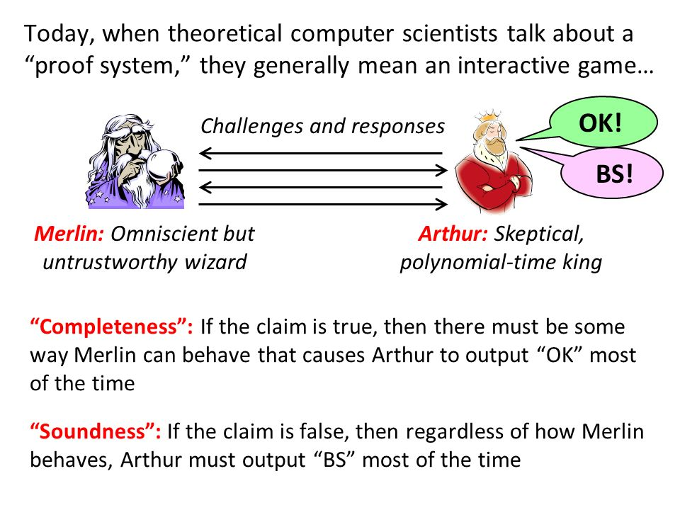 Today, when theoretical computer scientists talk about a proof system, they generally mean an interactive game… Completeness: If the claim is true, then there must be some way Merlin can behave that causes Arthur to output OK most of the time Merlin: Omniscient but untrustworthy wizard Soundness: If the claim is false, then regardless of how Merlin behaves, Arthur must output BS most of the time Arthur: Skeptical, polynomial-time king Challenges and responses OK!BS!