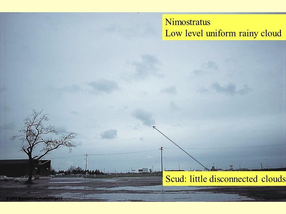 Nimostratus Low level uniform rainy cloud Scud: little disconnected clouds