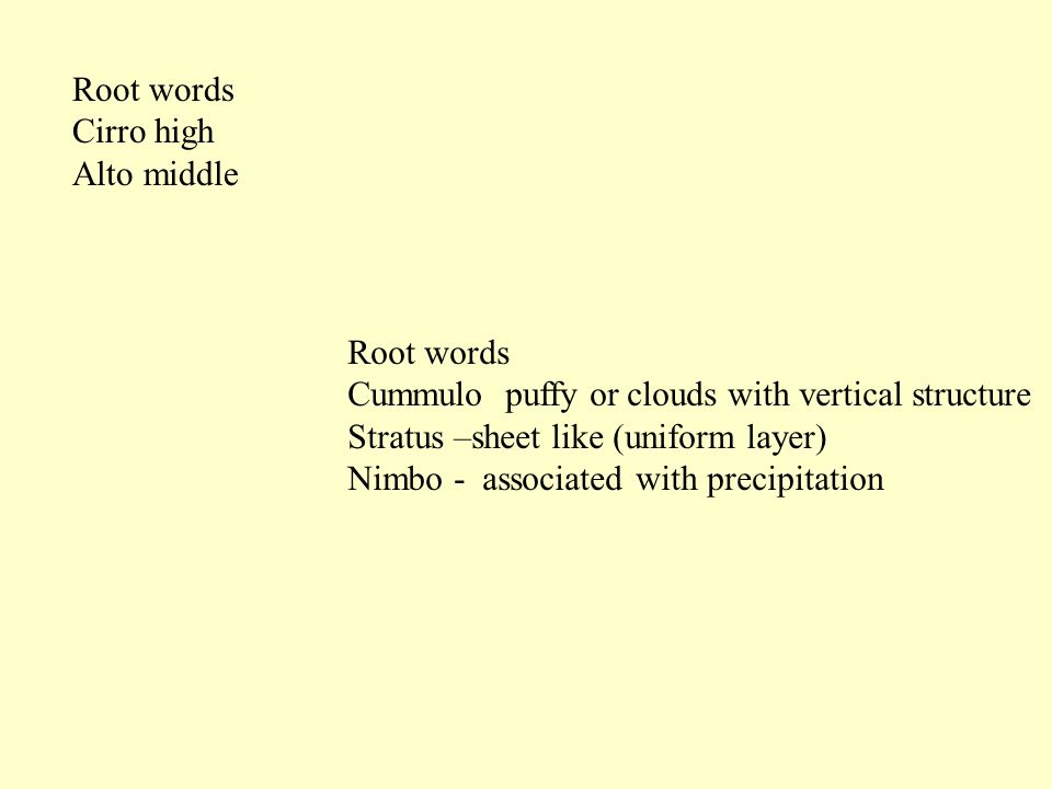 Root words Cirro high Alto middle Root words Cummulo puffy or clouds with vertical structure Stratus –sheet like (uniform layer) Nimbo - associated wi