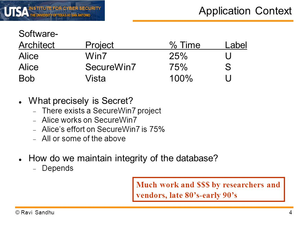 INSTITUTE FOR CYBER SECURITY Application Context Software- ArchitectProject% TimeLabel AliceWin725%U AliceSecureWin775%S BobVista100%U What precisely is Secret.
